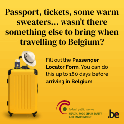 Fill out the Passenger Locator Form. You can do this up to 180 days before arriving in Belgium.